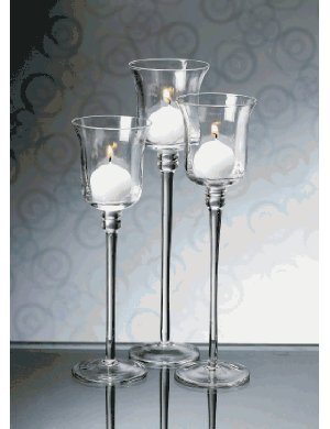 set of 3 optic glass long stem candle holder helen g events destination wedding planner in. Black Bedroom Furniture Sets. Home Design Ideas